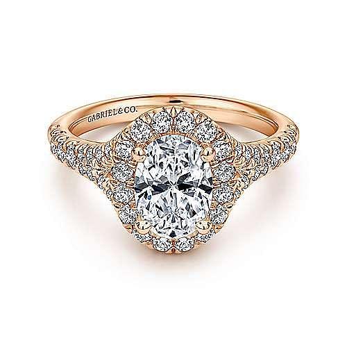 Gabriel - Skylar 14k Rose Gold Oval Halo Engagement Ring