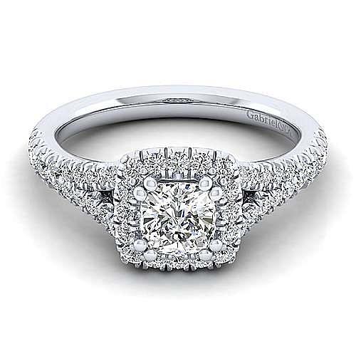 Gabriel - Skylar 14k White Gold Cushion Cut Halo Engagement Ring