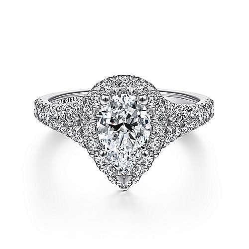 Gabriel - Skylar 14k White Gold Pear Shape Halo Engagement Ring