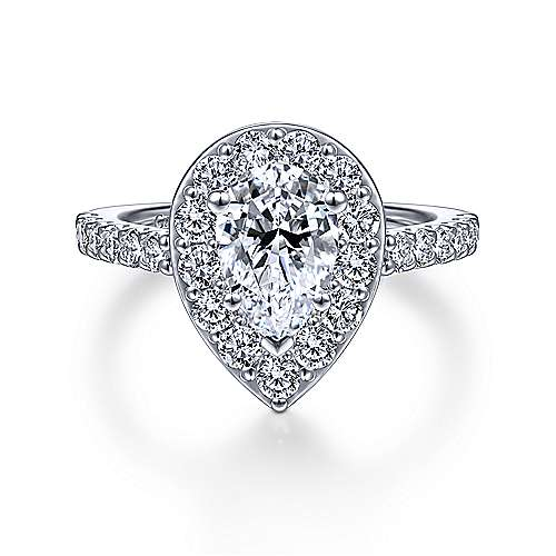 Gabriel - Skylar 14k White Gold Pear Shape Halo Engagement Ring