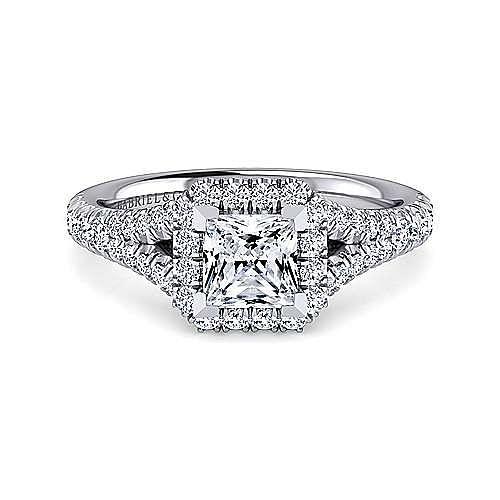 Gabriel - Skylar 14k White Gold Princess Cut Halo Engagement Ring
