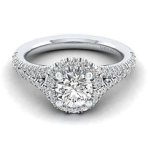 Gabriel - Skylar 14k White Gold Round Halo Engagement Ring