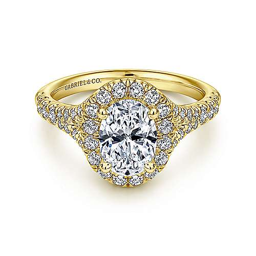 Gabriel - Skylar 14k Yellow Gold Oval Halo Engagement Ring