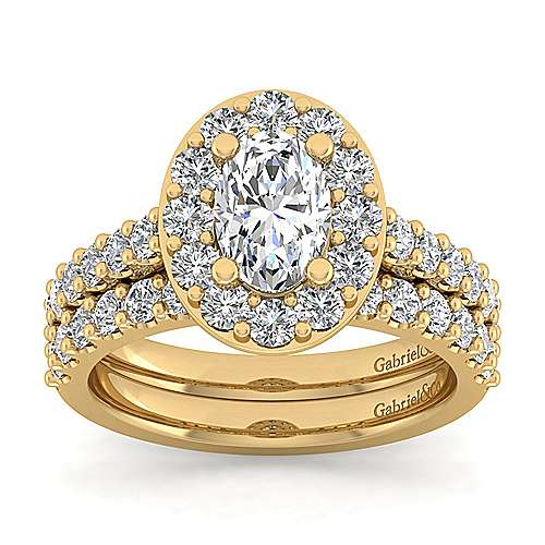 Skylar 14k Yellow Gold Oval Halo Engagement Ring angle 4