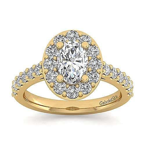 Skylar 14k Yellow Gold Oval Halo Engagement Ring angle 5