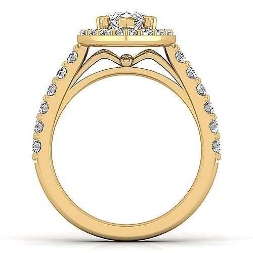 Skylar 14k Yellow Gold Pear Shape Halo Engagement Ring angle 2
