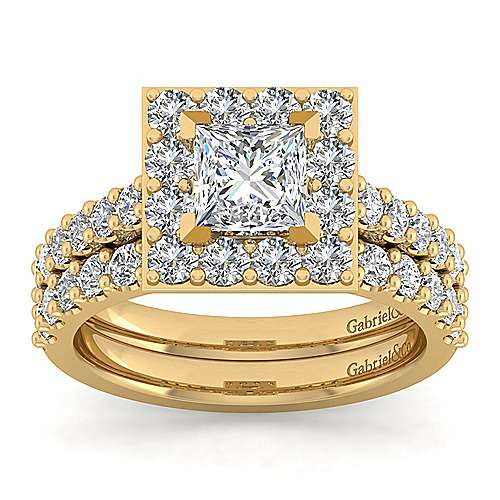 Skylar 14k Yellow Gold Princess Cut Halo Engagement Ring angle 4