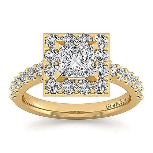 Skylar 14k Yellow Gold Princess Cut Halo Engagement Ring angle 5