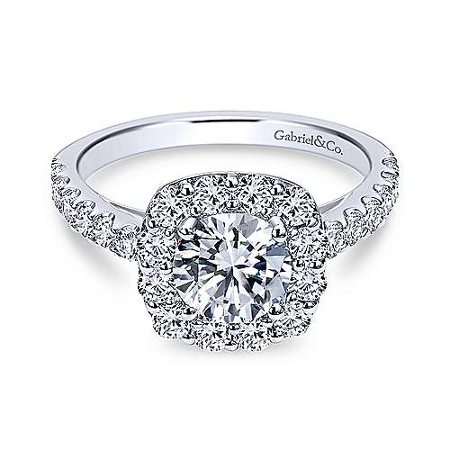Gabriel - Skylar 18k White Gold Round Halo Engagement Ring