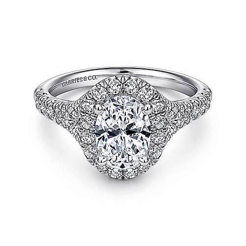 Gabriel - Skylar Platinum Oval Halo Engagement Ring