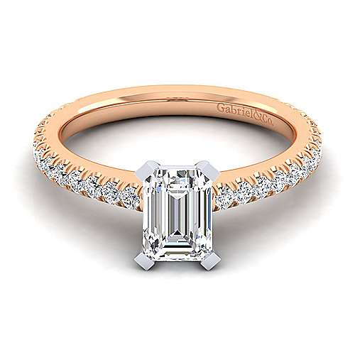 Sloane 14k White And Rose Gold Emerald Cut Straight Engagement Ring angle 1