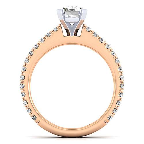 Sloane 14k White And Rose Gold Emerald Cut Straight Engagement Ring angle 2