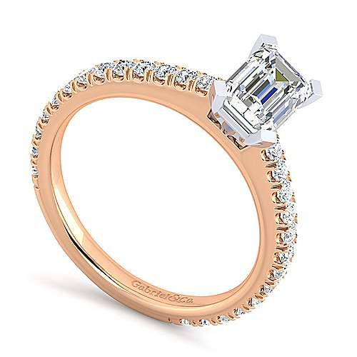 Sloane 14k White And Rose Gold Emerald Cut Straight Engagement Ring angle 3