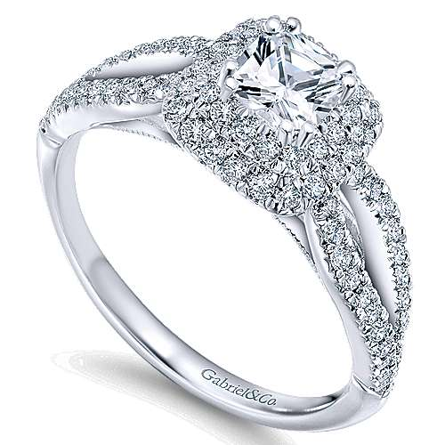 Smitten 14k White Gold Cushion Cut Double Halo Engagement Ring angle 3