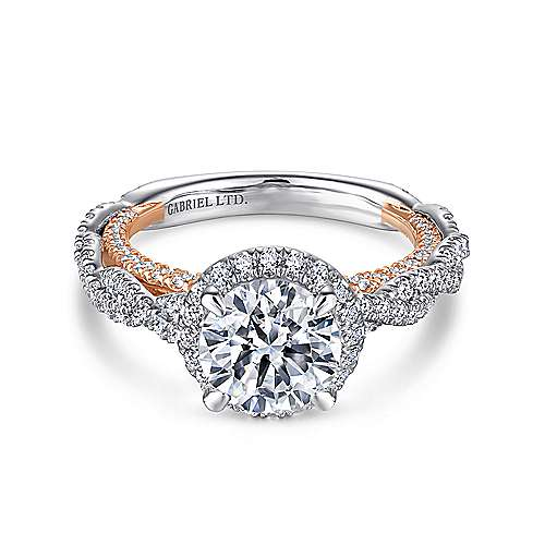 Gabriel - Soledad 18k White And Rose Gold Round Halo Engagement Ring