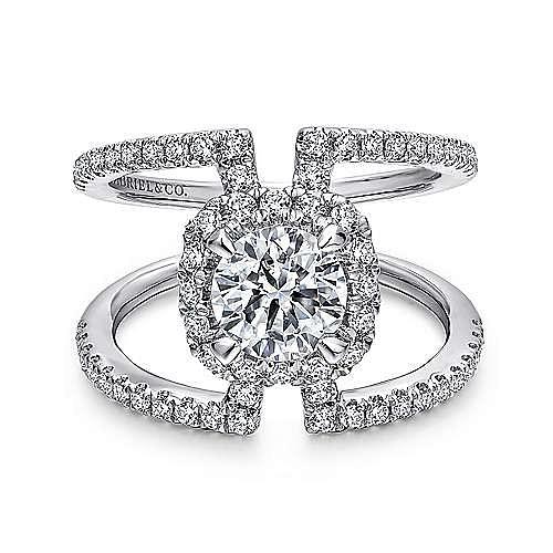 Gabriel - Soleil 14k White Gold Round Halo Engagement Ring