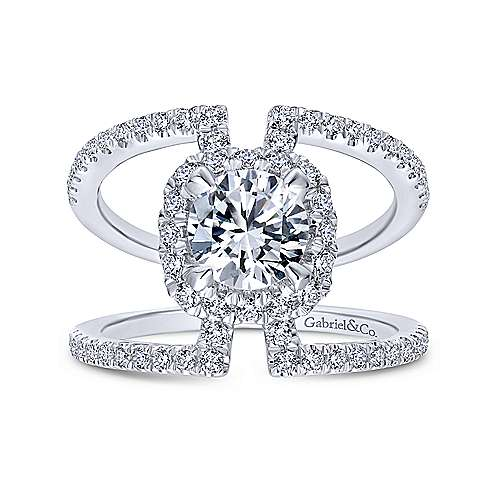 Soleil 14k White Gold Round Halo Engagement Ring angle 5