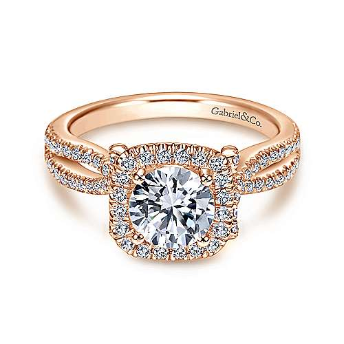 Gabriel - Sonya 14k Rose Gold Round Halo Engagement Ring