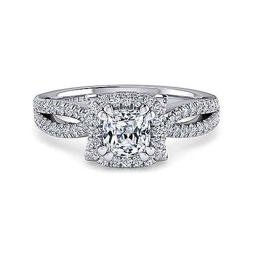 Gabriel - Sonya 14k White Gold Cushion Cut Halo Engagement Ring