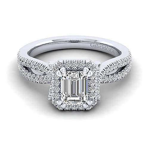Gabriel - Sonya 14k White Gold Emerald Cut Halo Engagement Ring