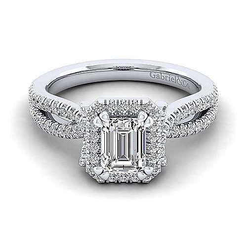 Gabriel - Sonya 14k White Gold Emerald Cut Halo Engagement Ring