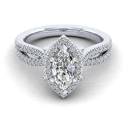 Gabriel - Sonya 14k White Gold Marquise  Halo Engagement Ring