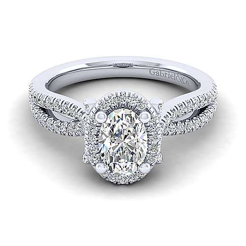 Gabriel - Sonya 14k White Gold Oval Halo Engagement Ring