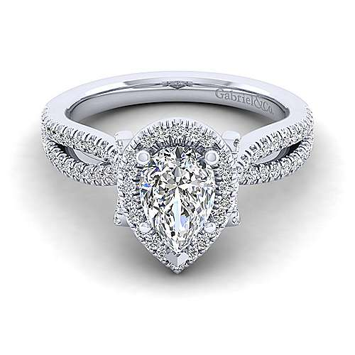 Gabriel - Sonya 14k White Gold Pear Shape Halo Engagement Ring