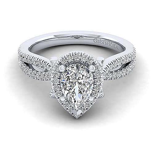 Gabriel - Sonya 14k White Gold Pear Shape Halo Engagement Ring