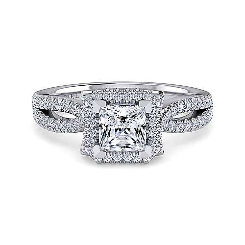 Gabriel - Sonya 14k White Gold Princess Cut Halo Engagement Ring
