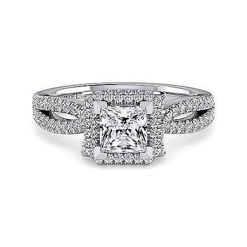 Gabriel - Sonya 14k White Gold Princess Cut Halo Engagement Ring