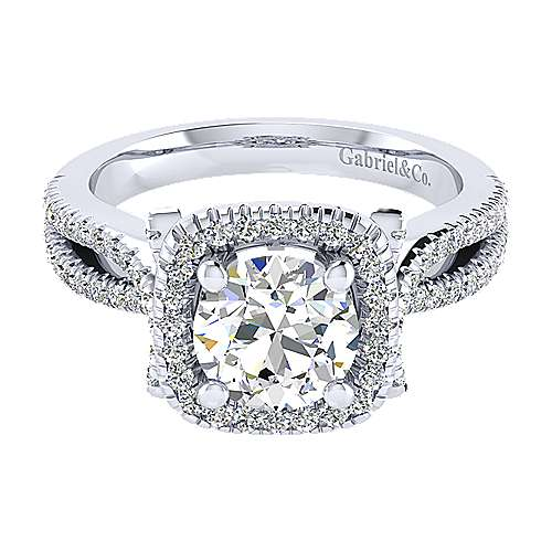 Gabriel - Sonya 14k White Gold Round Halo Engagement Ring