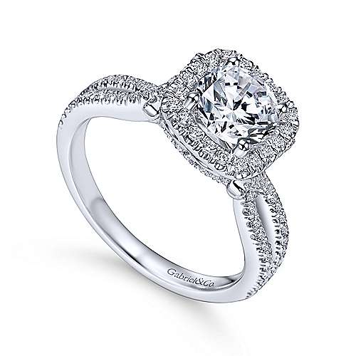 Sonya 14k White Gold Round Halo Engagement Ring angle 3