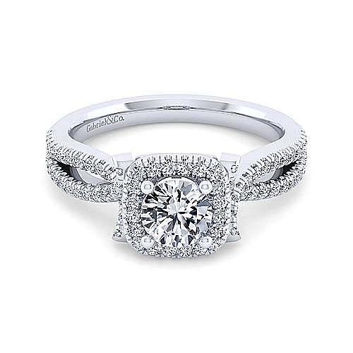 Sonya 14k White Gold Round Halo Engagement Ring angle 1