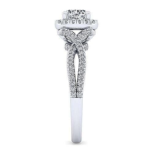 Sonya 14k White Gold Round Halo Engagement Ring angle 5