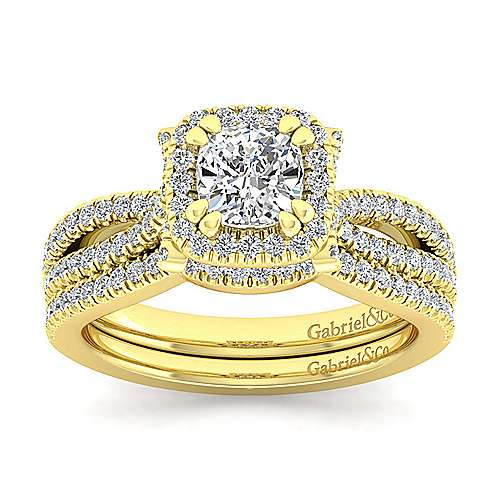 Sonya 14k Yellow Gold Cushion Cut Halo Engagement Ring angle 4