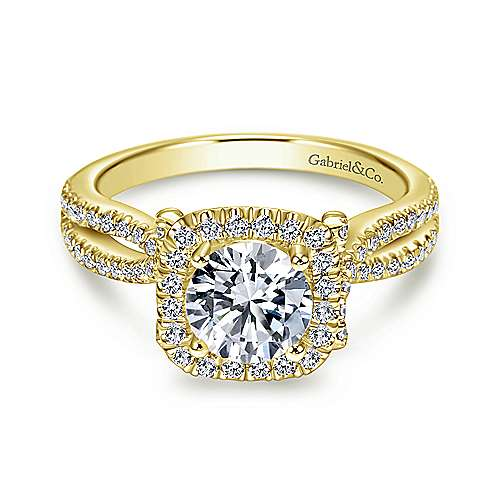 Gabriel - Sonya 14k Yellow Gold Round Halo Engagement Ring