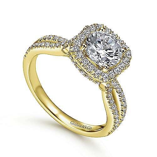 Sonya 14k Yellow Gold Round Halo Engagement Ring angle 3