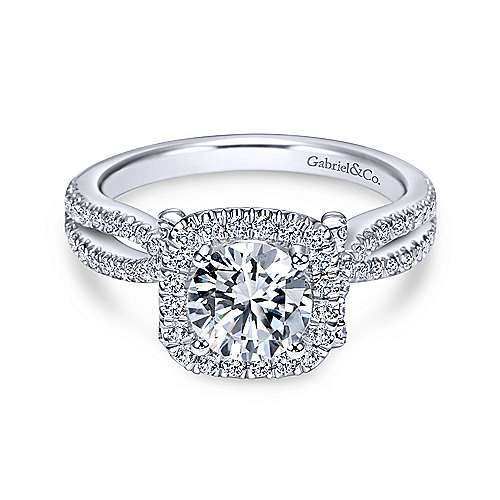 Gabriel - Sonya 18k White Gold Round Halo Engagement Ring