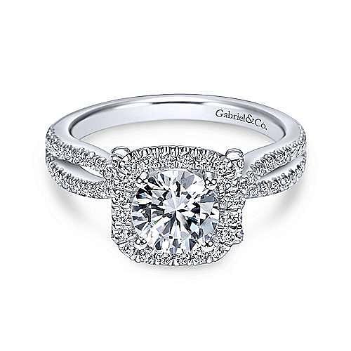 Gabriel - Sonya 18k White Gold Round Halo Engagement Ring