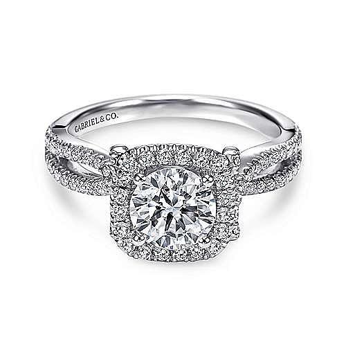 Gabriel - Sonya Platinum Round Halo Engagement Ring