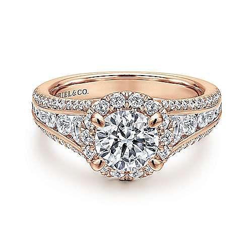 Gabriel - Sorrel 14k Rose Gold Round Halo Engagement Ring