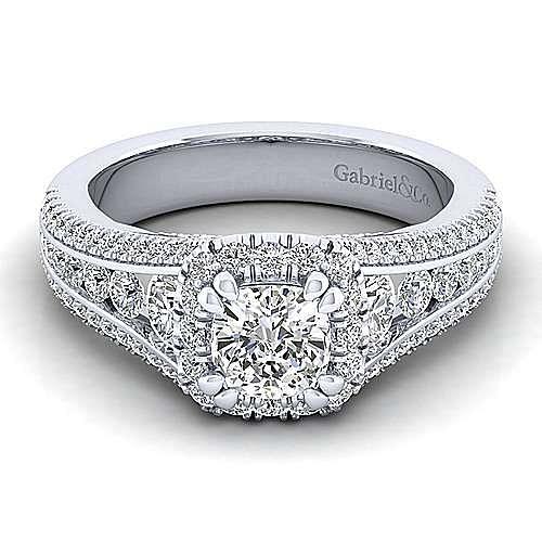 Gabriel - Sorrel 14k White Gold Cushion Cut Halo Engagement Ring