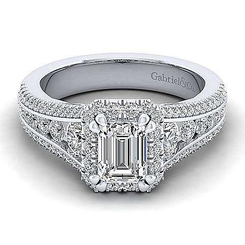 Gabriel - Sorrel 14k White Gold Emerald Cut Halo Engagement Ring