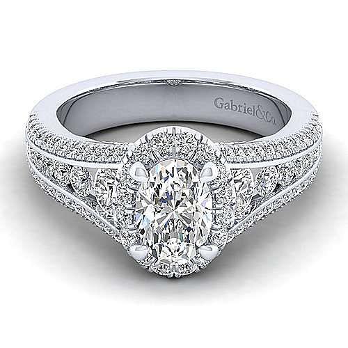 Gabriel - Sorrel 14k White Gold Oval Halo Engagement Ring