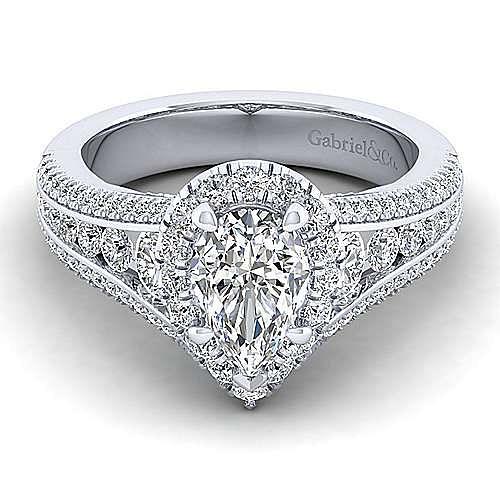 Gabriel - Sorrel 14k White Gold Pear Shape Halo Engagement Ring