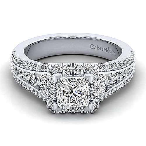 Gabriel - Sorrel 14k White Gold Princess Cut Halo Engagement Ring