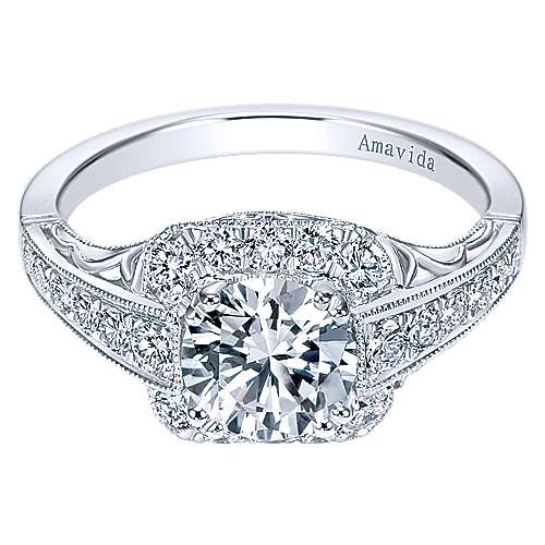 Spice Platinum Round Halo Engagement Ring angle 1