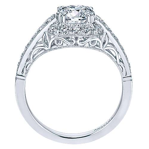 Spice Platinum Round Halo Engagement Ring angle 2