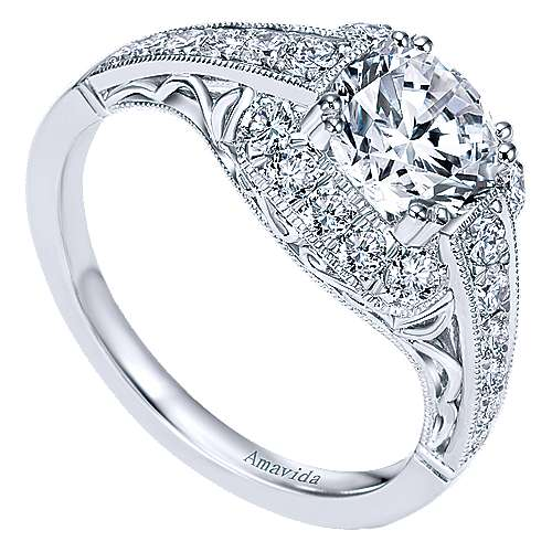 Spice Platinum Round Halo Engagement Ring angle 3